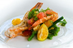 Wild Wailua Fern Shoots, Kauai Fresh Farms Tomatoes, calamanci and grilled Kauai Shrimp. Daniel Lane photo